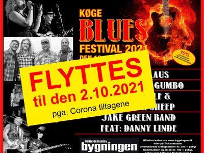 Køge Blues Festival - Efterår 2021. Svedig bluesfestival i Musikforeningen Bygningen i Køge, Fredag den 2. oktober 2021 kl. 12.00.