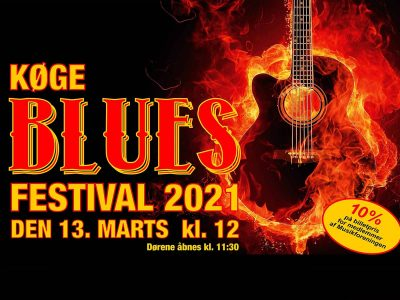 Køge Blues Festival - Forår 2021. Svedig bluesfestival i Musikforeningen Bygningen i Køge, lørdag den 13. marts 2021 kl. 12.00.